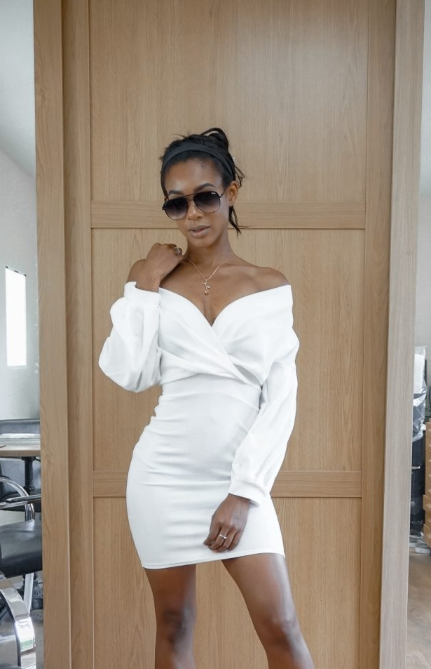 boohoo white bardot dress