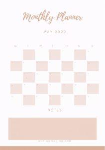 May 2020 Monthly Planner Free Download created by @justnadiene www.justnadiene.com