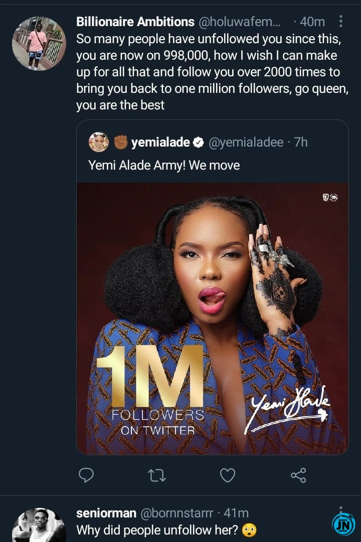 [JustNaija.com]2 6 - Reactions as over 2000 fans unfollow Yemi Alade on Twitter after she celebrated 1M followers