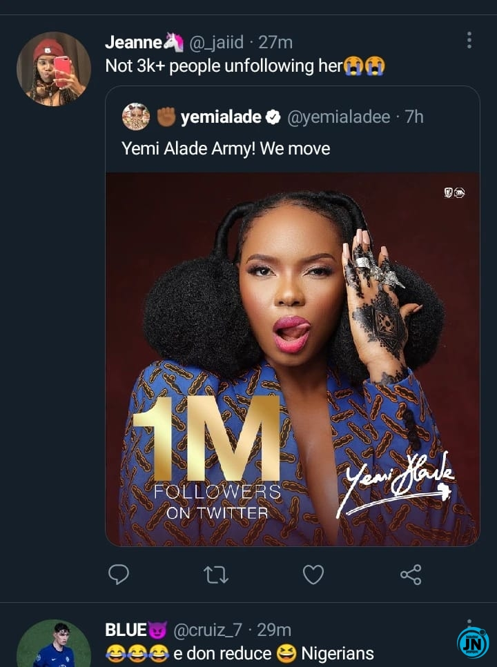 [JustNaija.com]3 6 - Reactions as over 2000 fans unfollow Yemi Alade on Twitter after she celebrated 1M followers