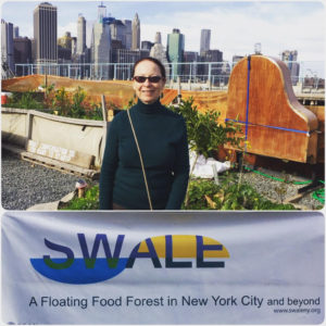 JOT Founder Isabel Wade visits the innovative Swale floating food garden.