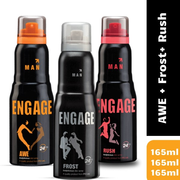 Engage AWE + Frost+ Rush Deodorant Spray For Women-165+165+165 ml