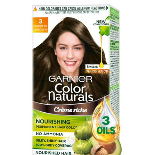 Garnier Color Naturals Crème hair color, Shade 3 Darkest Brown, 70ml + 60g