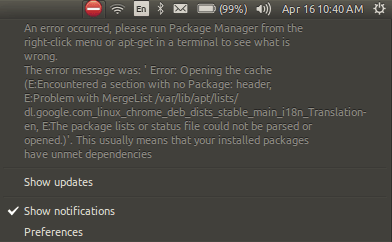 """Chrome – """"package list or status file could not be parsed or opened"""""""