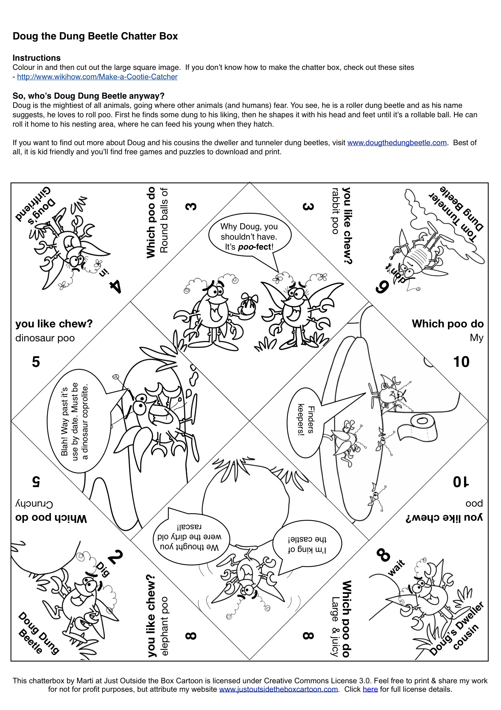 Free Cootie Catcher Template 1 Pptpdf 7 Pages Sketch