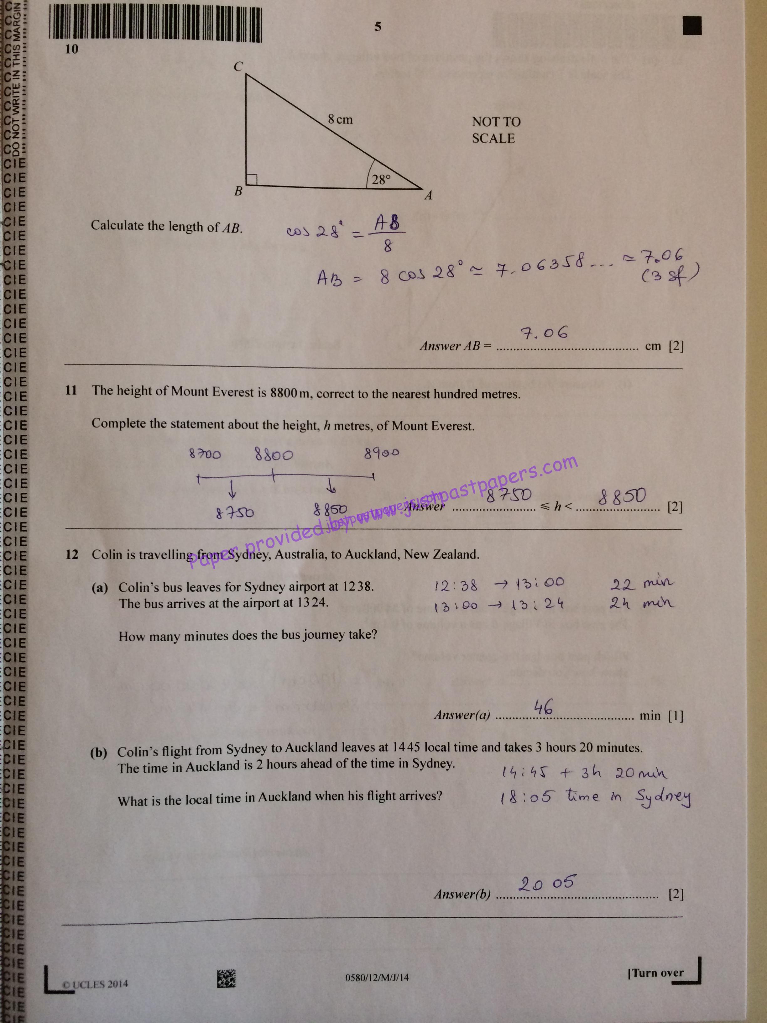 CIE 0580. IGCSE Core. Paper 12. May/June 2014 – Mathematics Solution – JustPastPapers.com