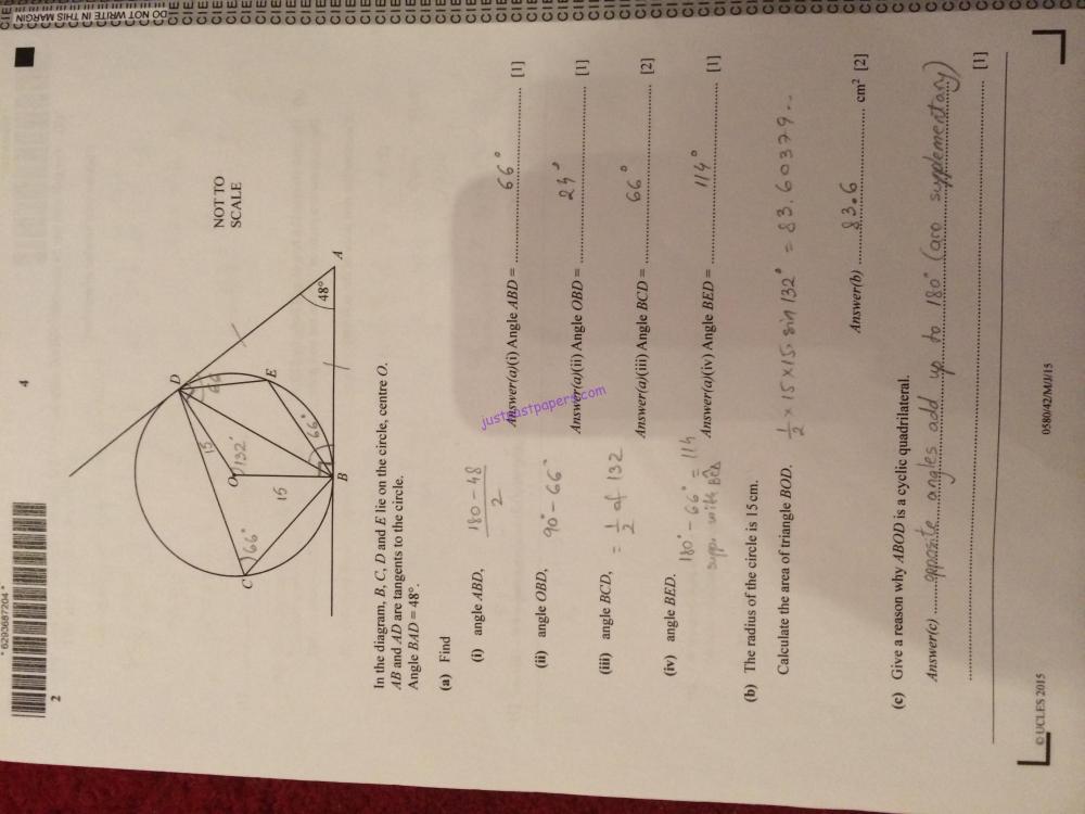 medium resolution of CIE – 0580 Mathematics IGCSE Paper 42