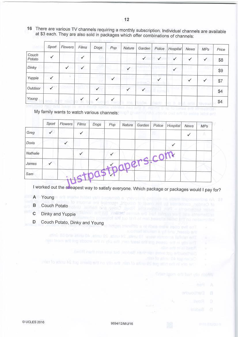 CIE – 9694, Thinking skills – Paper 12