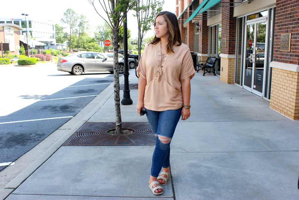 Lace Up Shirt Outfit Ideas| Just Peachy Blog
