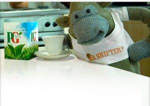 PG Tips monkey honoring Mr. Shifter.