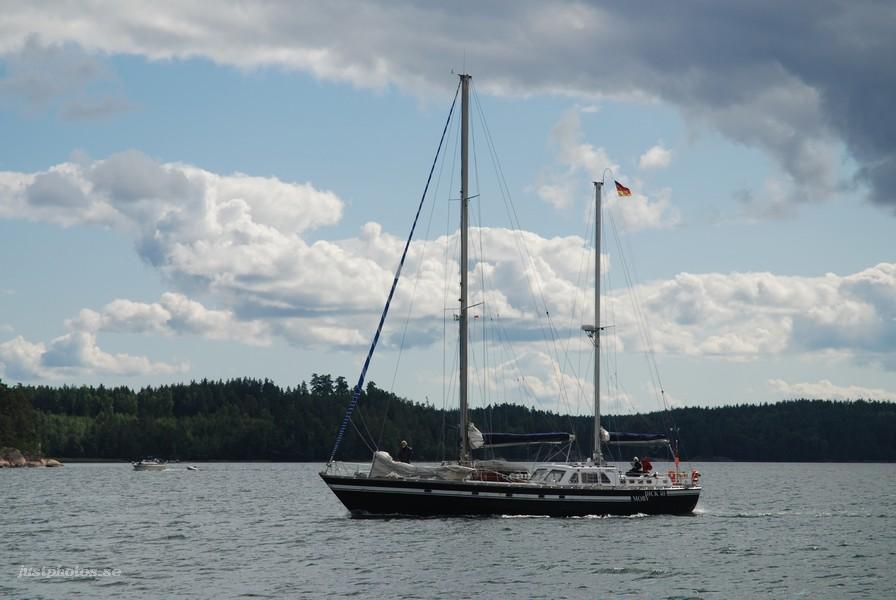 a motosailer in stockholm archipelago