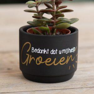 Geschenken: Bloempotje zwart - groeien