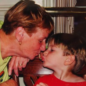 Sam and Granny doing the Lady and the Tramp thing