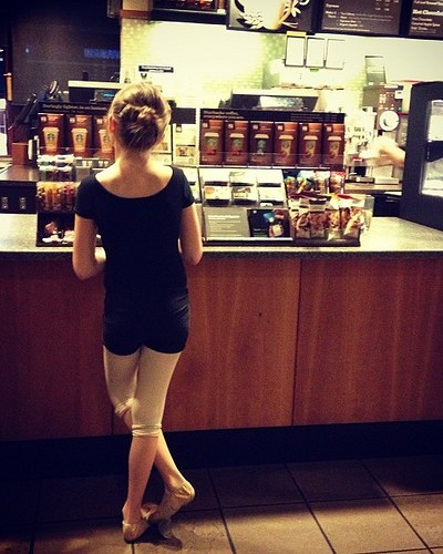 An Everyday Shot:  My Little Ballerina at Starbucks