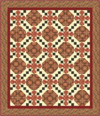 Istanbul Collection - Ancient Tiles of Istanbul pattern in Garnet colorway