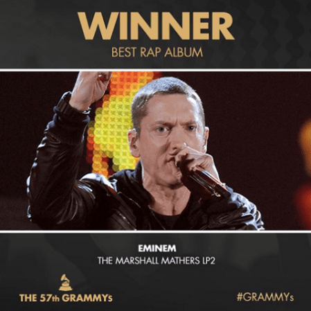 Eminem wins two grammys at 57th grammy awards