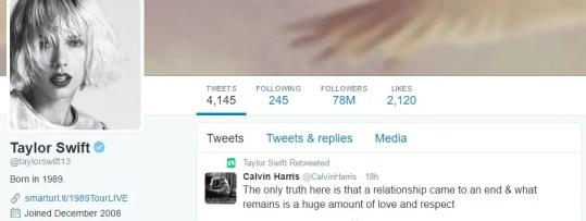 Taylor Swift re-tweeted Calvin Harris's tweet on the breakup