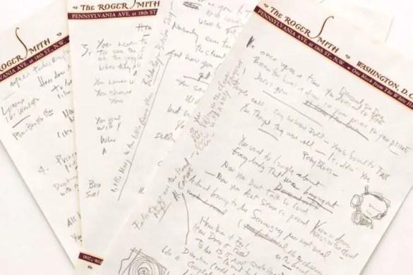 """Handwritten draft of """"Like A Rolling Stone"""" written by Bob Dylan himself"""