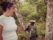 Io e una scimmia nella Jozani Forest, a Zanzibar.