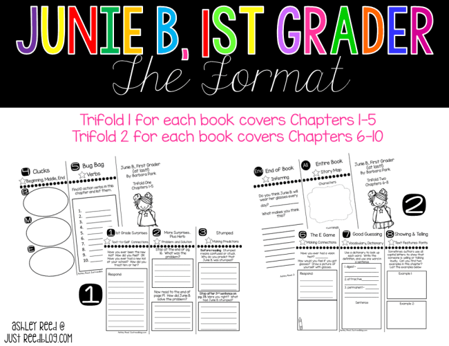 These Junie B 1st Grader reading trifolds are perfect for high flyers or for book clubs and guided reading groups.  Each trifold focuses on several skills and strategies!