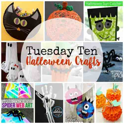 These ten Halloween crafts are perfect for October learning!  Cats, ghosts, pumpkins, monsters, spiders, and frankenstein!  October will be a blast!