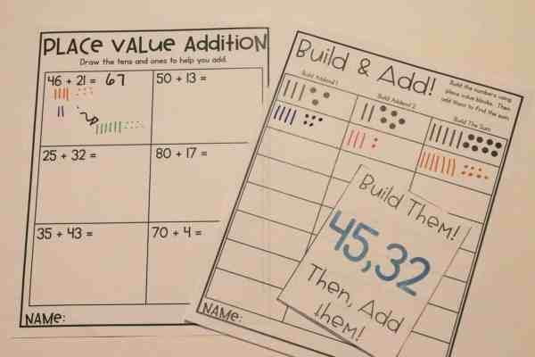 Place Value Pictures are a great transitional two digit addition procedure before introducing the traditional algorithm.