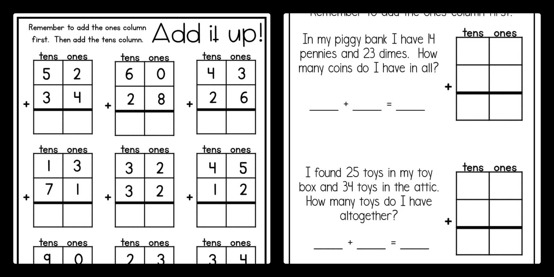 3 Digit Addition Worksheet Graph