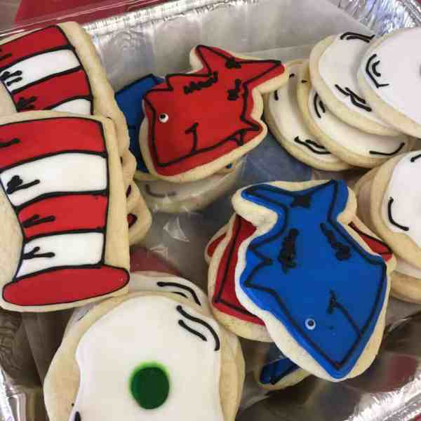 Dr. Seuss sugar cookies for Read Across America. Made by Daddy's Girl Cookies.