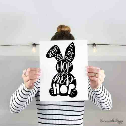 Free printable typographic Easter Bunny from Dawn Nicole Designs