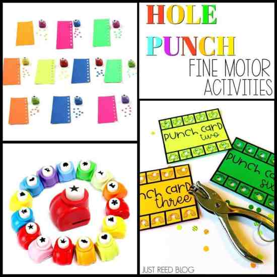 Hole punchers can be used for fine motor activities in preschool.