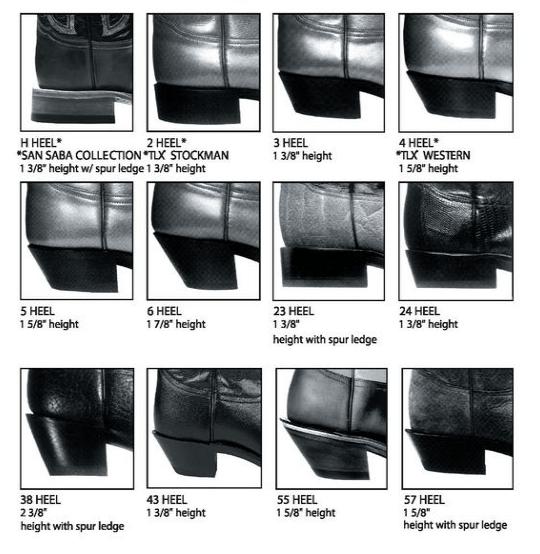 Tony Lama Heel Chart