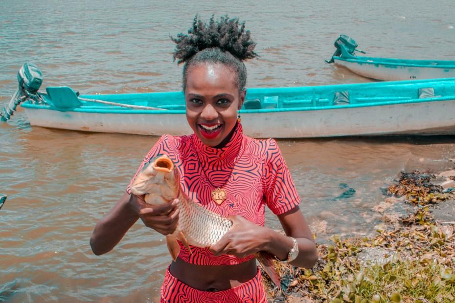 Caught a fish at Lake Naivasha