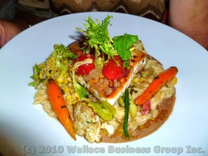 Halibut Steak on Orzo noodles
