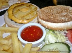 Hawaiian Burger with tangy chili sauce