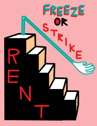 Rent Strike graphic by Josh McPhee, Just Seeds 2020