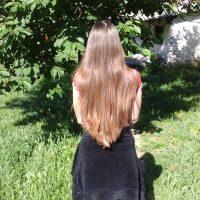 virgin, light brown, very healthy hair
