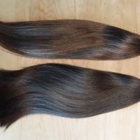 "2 x 16"" Pony Tails of Thick Soft Brown Hair"