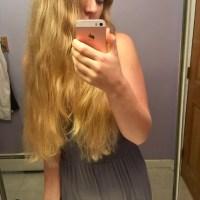 20 inches of virgin blonde hair