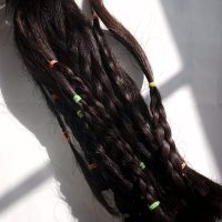 DARK BROWN VIRGIN HAIR 6 INCHES LONG 4 INCHES THICK