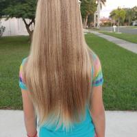 9 yr old girl`s virgin dirty blond hair