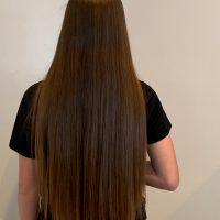 "16"" Virgin Warm Brown 4.5 thick hair from 13 year old"