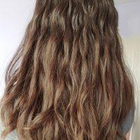 Virgin wavy, soft, shiny, brown/dark-auburn hair