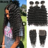 Black Pearl Deep Wave Bundles With Closure Remy Malaysian Hair 30 Inch Bundles With Closure 3 Bundle