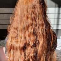 20+ inches long, 4 inches thick - Beautiful Wavy Brazilian Virgin Red Hair - RARE