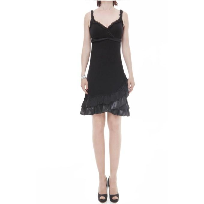 XS Milano abito corto raso seta nero
