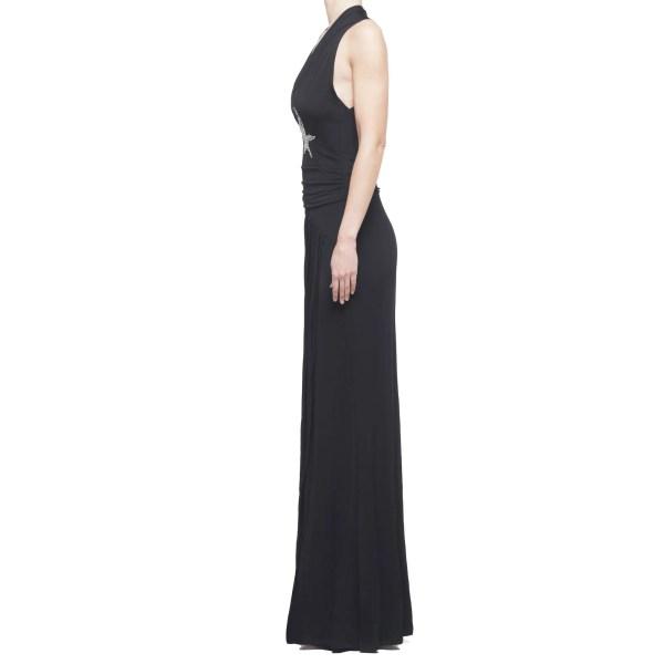Anna Rachele vestito lungo donna nero con spacco e strass stelle, IT 42