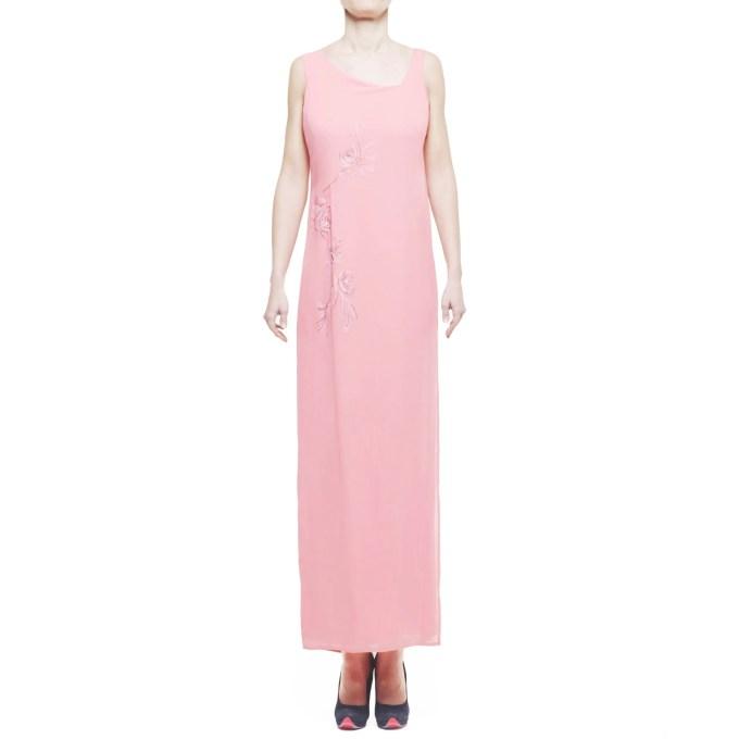 Saint Rose Paris abito donna lungo con motivo floreale ricamato a mano, corallo IT 42