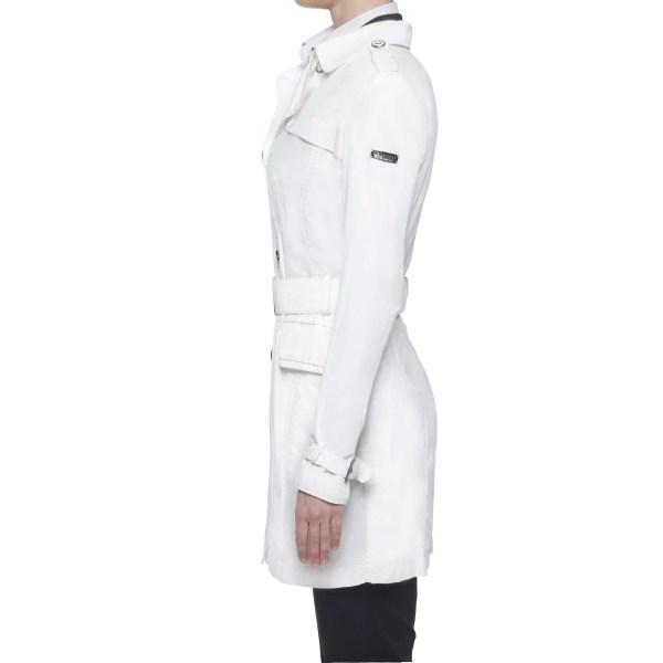 Geospirit trench impermeabile donna bianco con cintura doppiopetto bianco IT 44