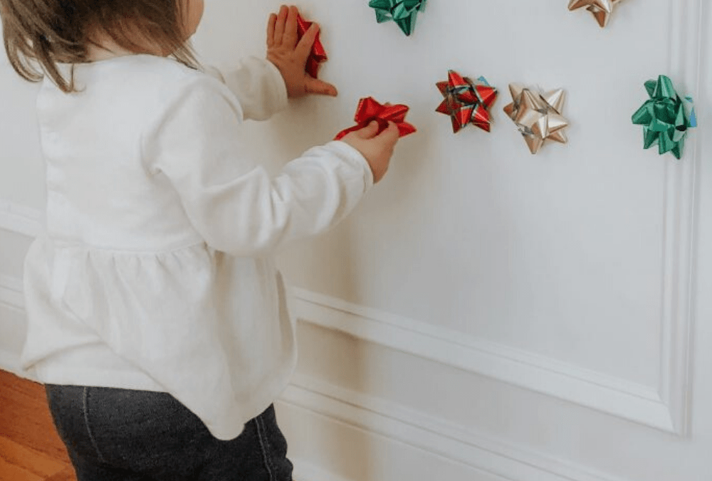 Christmas Bow Wall Stick Toddler Activity