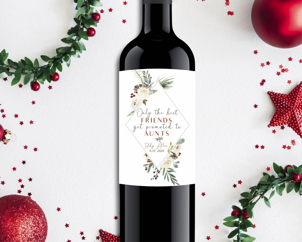 Announce your pregnancy to family & friends with a unique wine label for the Christmas season. Simply print & stick to any wine bottle for the perfect gift for aunts, grandparents, or friends.